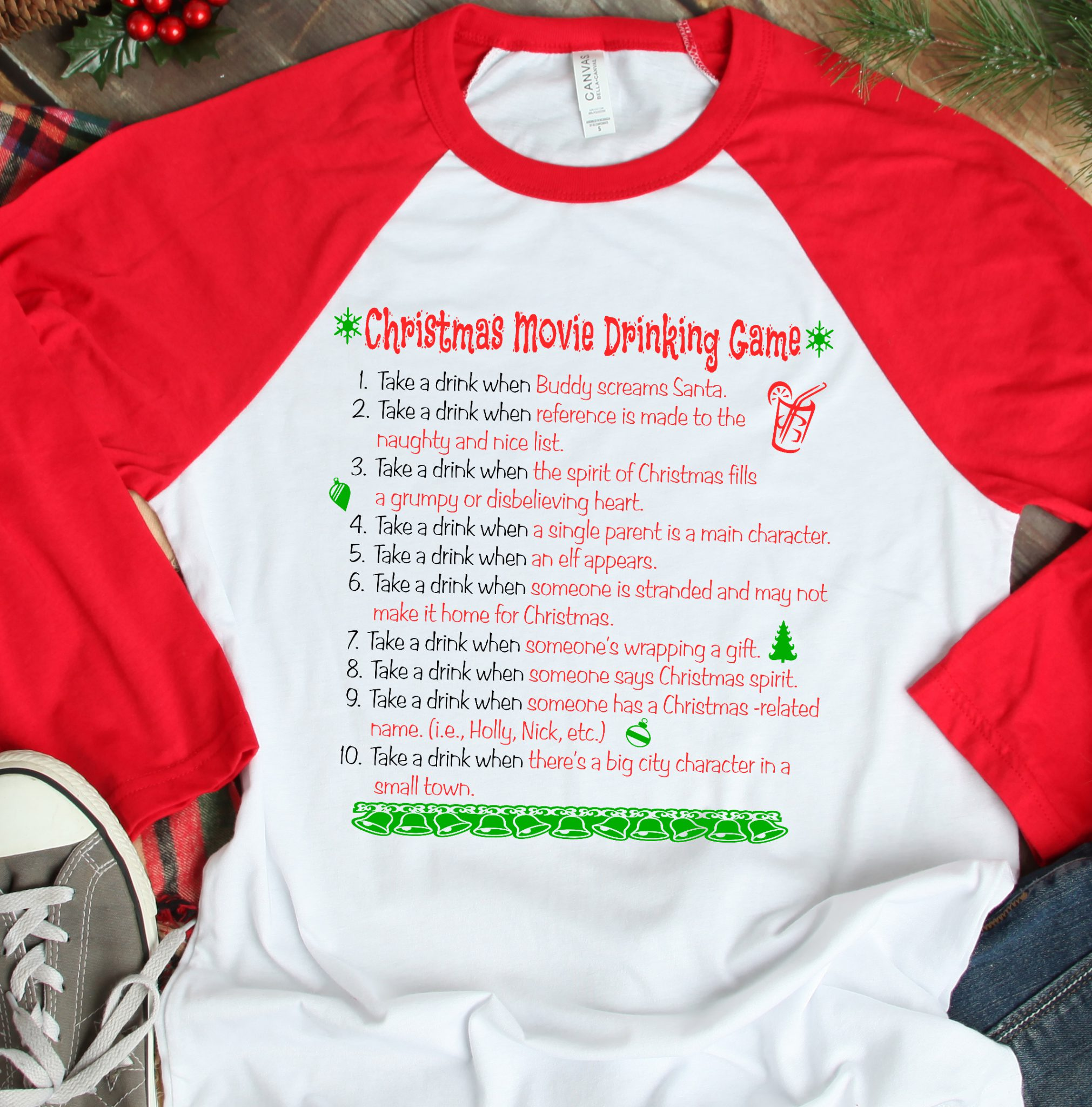 21ce276257649 CHRISTMAS MOVIE DRINKING GAME Raglan Baseball TShirt White with Red Sleeves