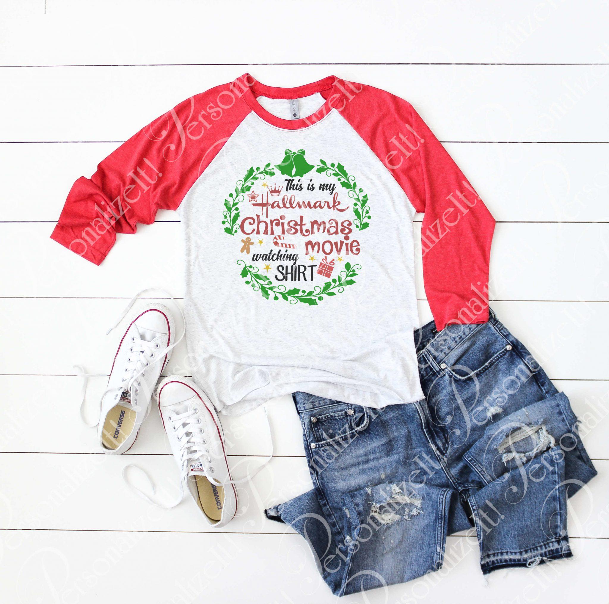 Hallmark Christmas Shirt.Vintage Print This Is My Hallmark Movie Watching Shirt Raglan Baseball Tshirt Black Or Red Sleeves